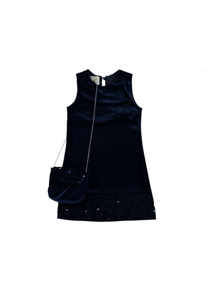 LT βελούδινο φόρεμα με πούλιες και τσάντα
