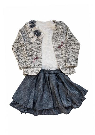 Rosaline φούστα μπλούζα σακάκι σετ