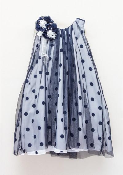 Rossa φόρεμα δαντέλα και τελείες μπλε