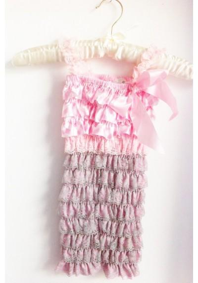 δαντέλα  σατέν  ρομπεράκι γκρι και ροζ